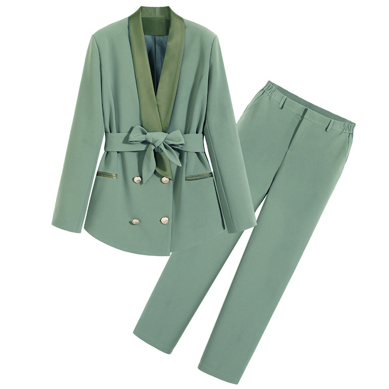 Large size women's M-5XL office suit pants two-piece Autumn and winter ladies mid-length jacket high quality casual trousers