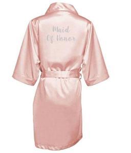 Image 5 - dark pink robe silver letter kimono personalised satin pajamas wedding robe bridesmaid sister mother of the bride robes
