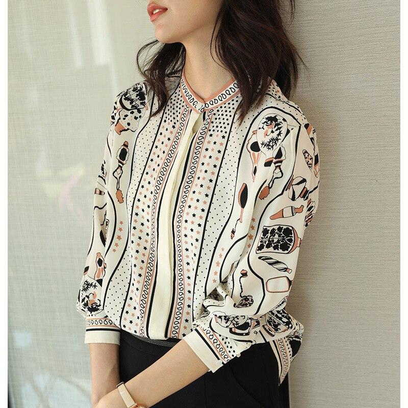 100% Echte Zijde Blouse Vrouwen Kleding 2020 Lente Zomer Shirt Koreaanse Luipaard Shirts Elegant Dames Tops En Blouses ZT2314 - 4