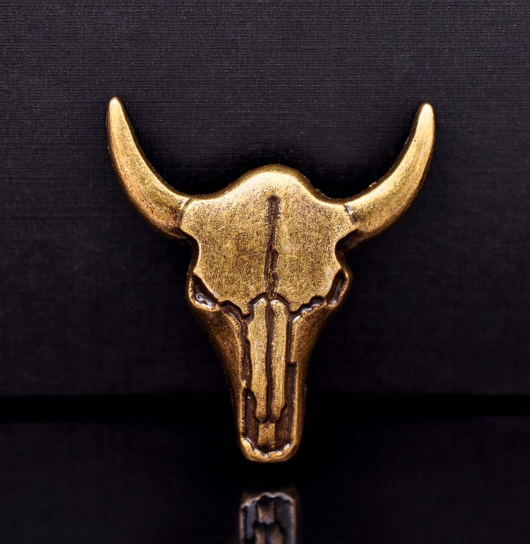 10pcs Solid Brass Western Cowboy Texas Bull Buffalo Longhorn Head Skull Leathercraft Bridle Conchos Western Decor Screwback