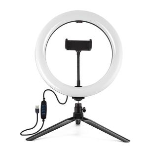 Image 2 - PULUZ Desktop Tripod Mount+10.2 inch 26cm USB LED Curved Diffuse Ring Light Vlogging Selfie Photography Video Lights Phone Clamp