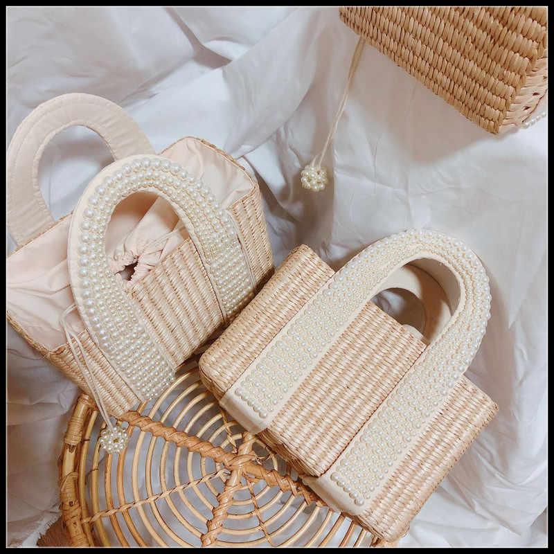 Модные женские сумки с жемчужинами, дизайнерское с бисером, соломенные сумки, Роскошные Жемчужные Ротанговые сумки, плетеная лоза, большая летняя пляжная сумка