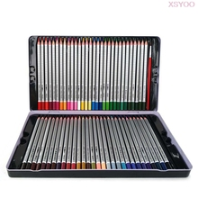 48/72Colors Watercolor Pencil Water Soluble Colored Pencils Iron box with brush pen for Artist Drawing Children School Supplies