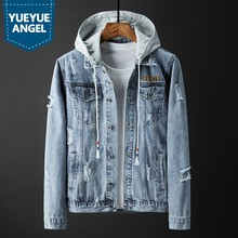 Spring 2020 Hooded Ripped Hole Washed Denim Coat Men High Street Embroidered Single Breasted Cowboy Jacket Light Blue Outwear