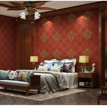 Classical New Chinese Style Red Wallpaper 3d Stereoscopic Bedroom Living Room Wedding Room Background Jubilation WallPaper Roll