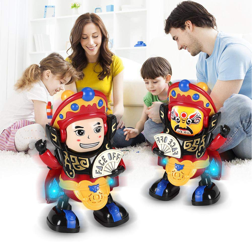 Electric Dance Face Changing Robot Doll Toys Children's Magic Toy Unisex Children's Birthday Gift Face Changing Doll With Light