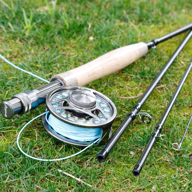 Sougayilang 4 seções voar vara de pesca