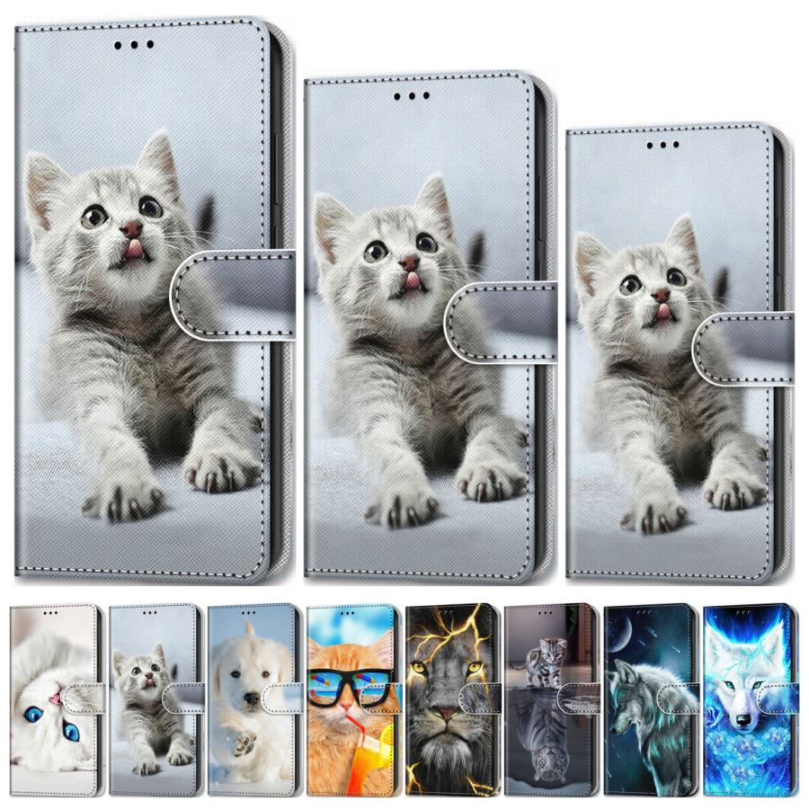 Cat Tiger Kids Cute Flip Case For iPhone 12 Pro Max SE 2020 6 6S 7 8 Bag For iPhone 11 Pro XS Max X XR Animal Stand Wallet D08F