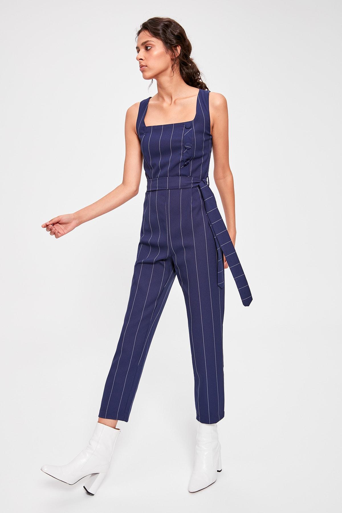 Trendyol Navy Blue Belted Striped Jumpsuit TWOAW20TU0023