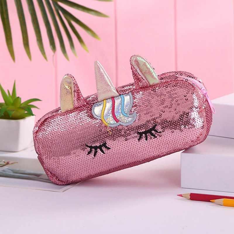 Sevimli Unicorn kozmetik çantaları pullu okul kalem çantası kırtasiye kalem kutusu Kawaii Pencilbag kızlar çocuklar için hediyeler okul malzemeleri