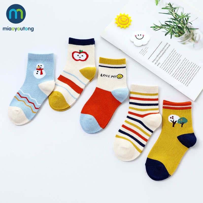5 Pairs/Lot Boat Cartoon Soft Cotton Baby Boy Kids Children's Socks For Girls New Year's Socks Warm Socks Women's Miaoyoutong 2