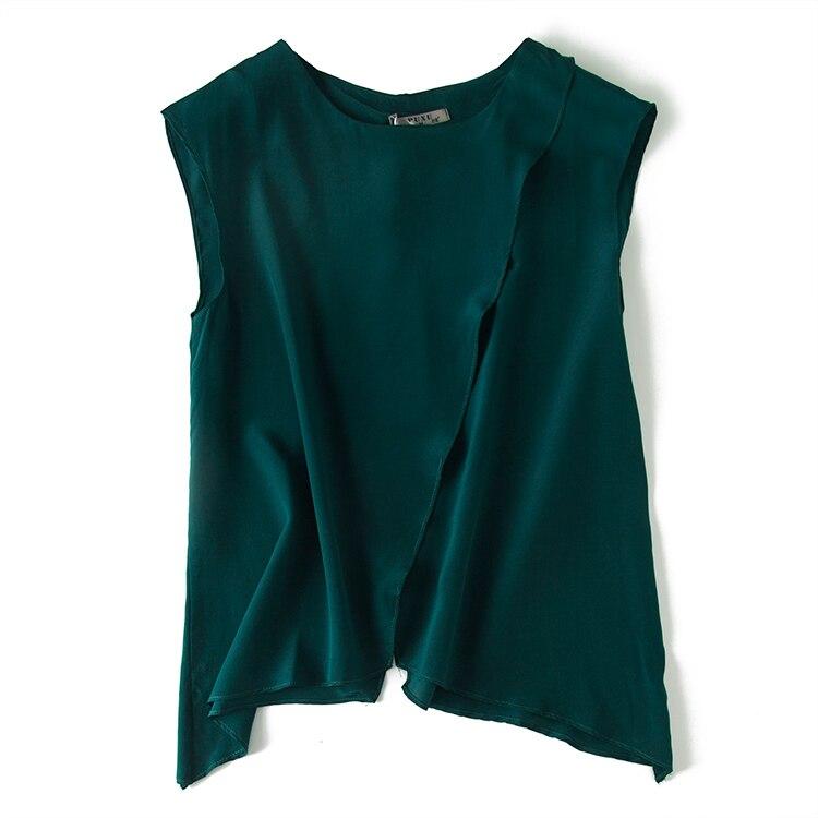 Chemisier en soie vert foncé 100% chemises sans manches élégantes en soie naturelle pour femmes Blouse d'été en soie rouge étoiles hauts pour femmes