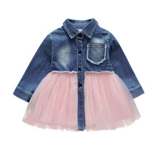 Pudcoco US Stock Princess Wedding Party Prom Birthday Dress Denim Top Patchwork Tutu Lace Dresses for Baby Girl 0-4Y