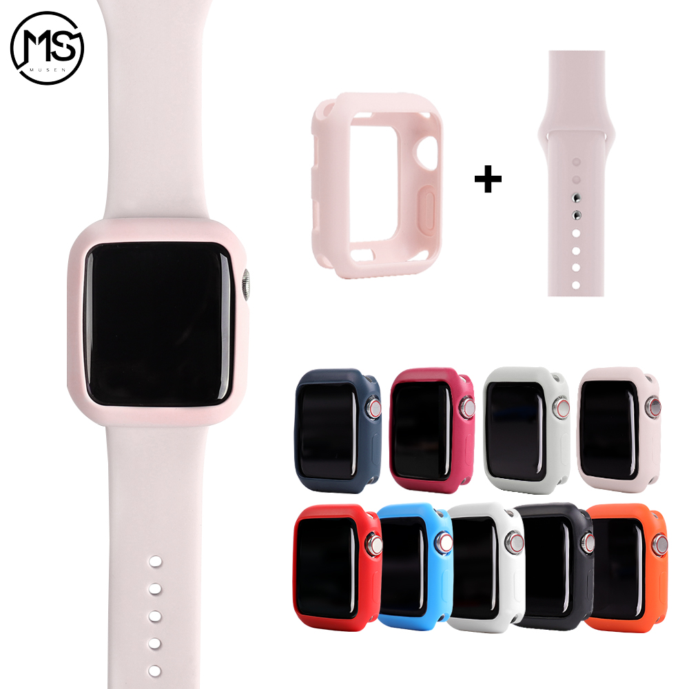 Soft Silicone Cover For Apple Watch 4 5 3 2 1 Series Case For Iwatch Bumper 38 42 40 44mm Candy Color Protector Thin Frame Band