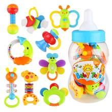 9pcs babyrattle s primeiro chocalho e mordedor brinquedo educação precoce aprendizagem brinquedos para crianças com garrafa de leite gigante agarrar brinquedo colorido