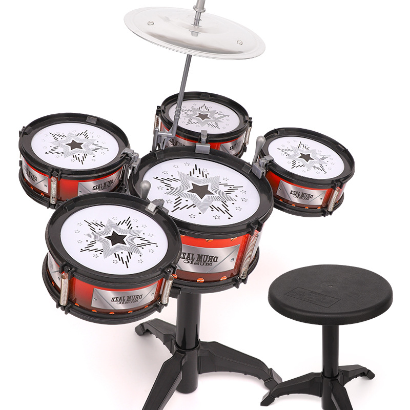 Drum Kit Toy Children Model Jazz Drum Large Size Percussion Instrument Beginners Baby 1-3-6-Year-Old toys for children image