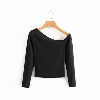 2020 new Women fashion sexy one shoulder knnitting casual slim T-shirt female skew collar chic black basic T shirt tops LS6163