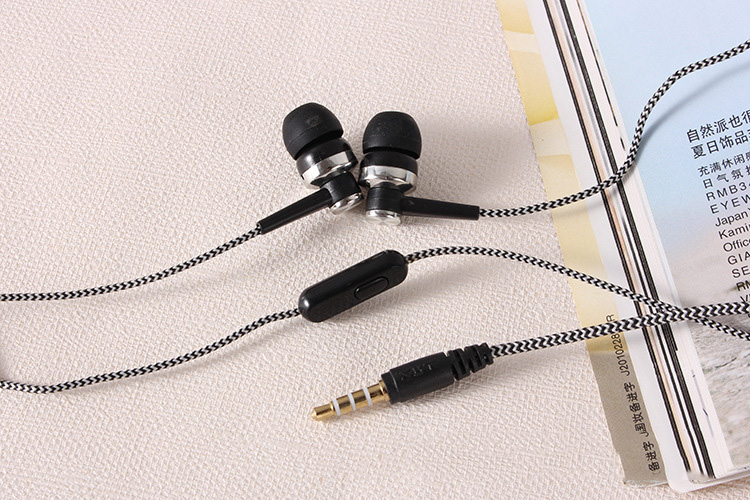 5 Colors Sport Earphones Bass Stereo Headset Braided Line Wire Control In Ear Gym Headphones with Mic for Xiaomi Huawei iPhone 5