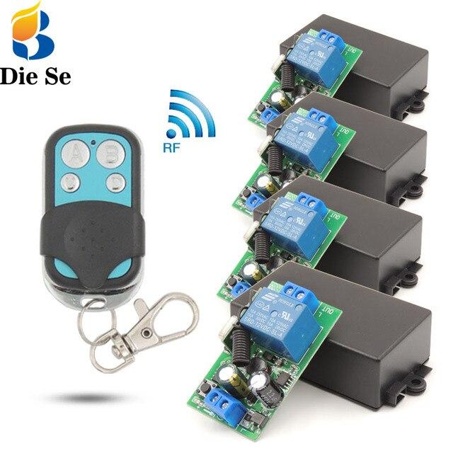 Beleuchtung Wireless Controller AC 85 ~ 250V 10Amp 2200W rf Relais Empfänger Bord und sicherheit rf Sender 4 banden für Birnes Pumpe Fan