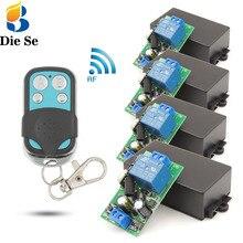Contrôleur déclairage sans fil ca 85 ~ 250V 10Amp 2200W rf relais récepteur carte et sécurité rf émetteur 4gangs pour ampoule \ pompe \ ventilateur