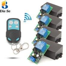 Iluminação sem fio controlador ac 85 250 2200 v 10amp w rf relé receptor placa e segurança rf transmissor 4 gangues para bulbo \ pump \ fan