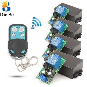 Image 1 - Verlichting Draadloze Controller Ac 85 ~ 250V 10Amp 2200W Rf Relais Ontvanger Board En Veiligheid Rf Zender 4gangs Voor Lamp \ Pomp \ Fan