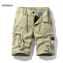Homens verão novo casual ao ar livre militar bolso calças de carga shorts moda sarja algodão camuflagem shorts