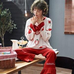 Image 4 - Frauen Kleidung Herbst Winter Pyjamas Sets Nachtwäsche Schöne Pijamas Mujer Langarm Baumwolle Sexy Pyjamas Weibliche Nette Homewear
