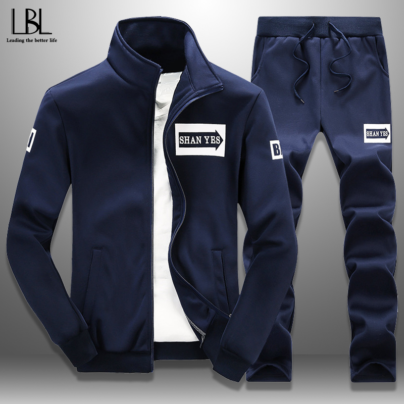 Men's Tracksuit Spring Sportswear 2 Piece Set Sporting Suit Jacket+Pant SweatsuitS Men Clothing Autumn Tracksuits Male Outwear