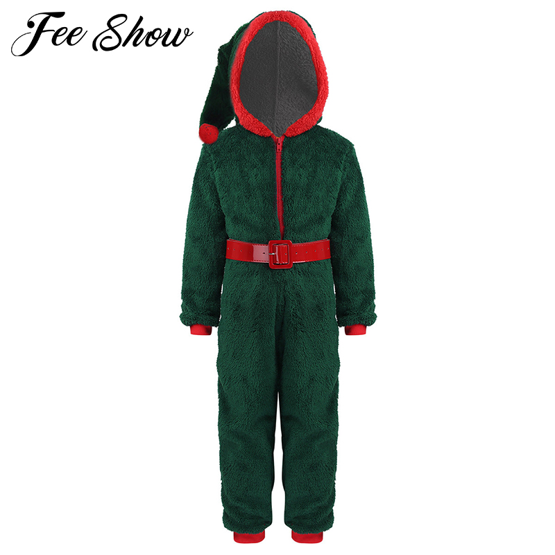 >Kids <font><b>Girls</b></font> Santa Costume <font><b>Outfit</b></font> <font><b>Soft</b></font> Coral Fleece Hooded Jumpsuit Pajamas with Belt for Christmas Holiday Cosplay Party Dress Up