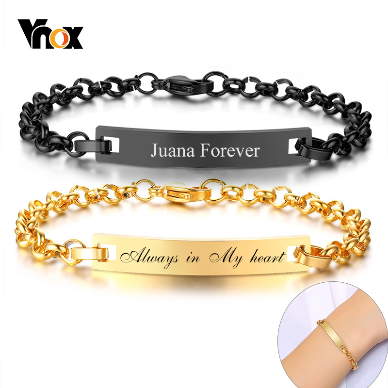 Vnox Personalize ID Bracelets For Women Men Solid Stainless Steel Couple Jewelry Customized Anniversary Birthday Gift