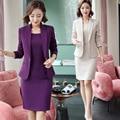 Фиолетовый Женская официальная одежда с подвязками, для девушек, элегантное, деловая, для офиса, пиджак с длинным рукавом для девочек с узор...