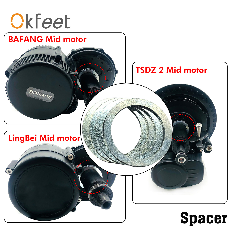 Okfeet Spacer 4 Pieces 9.6mm Ebike Conversion Parts For Bafang BBS01 BBSHD TSDZ 2 Lingbei Mid Motor Bottom Bracket Fitting