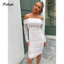 Pofash – robe Midi en maille unie, épaules dénudées, blanche, manches longues, dos nu, moulante, Sexy, tenue de soirée, boîte de nuit, 2021