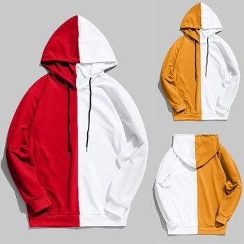 Men's Hoodies Mens Casual Patchwork Slim Fit Hoodie Outwear Blouse Sweatshirt Loose Panel Hooded Sweatshirt Мужские Комплекты 2