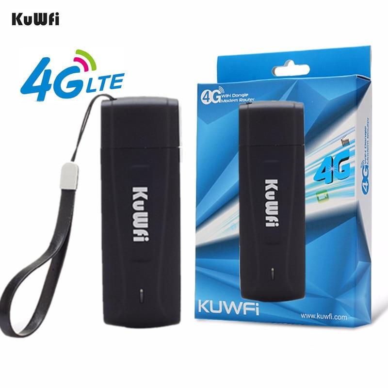 KuWFi USB 4G Modem LTE WiFi Dongle mobile WiFi réseau Hotspot mini 3G 4G WiFi Modem routeur avec emplacement pour carte SIM pour voiture en plein air