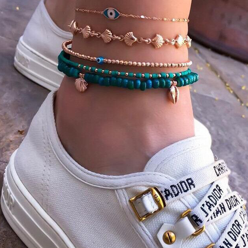 HuaTang 5pcs Boho Shell Strand Beads Anklets Set for Women Multilayers Blue Turkey Evil Eye Foot Chains Beach Jewelry 8841