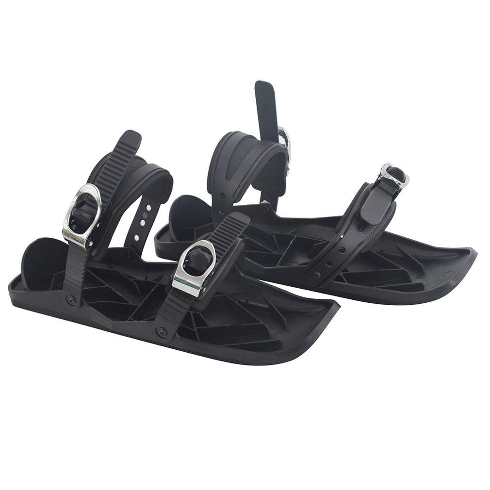 Mini Ski Skates For Snow The Short Skiboard Snowblades Shoes Adjustable Bindings Portable Skiing Shoes