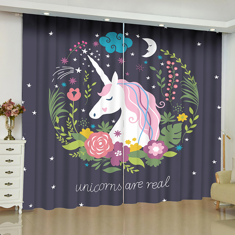 Cartoon Unicorn Curtains for Window Children Room Blinds Finished Drapes Blackout Parlour