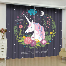 Cartoon Unicorn Curtains for Window Unicorn Children Room Blinds Finished Drapes Window Blackout Curtains Parlour Room Blinds nightmare curtains for window dark style butterfly batman blinds finished drapes window blackout curtains parlour room blinds