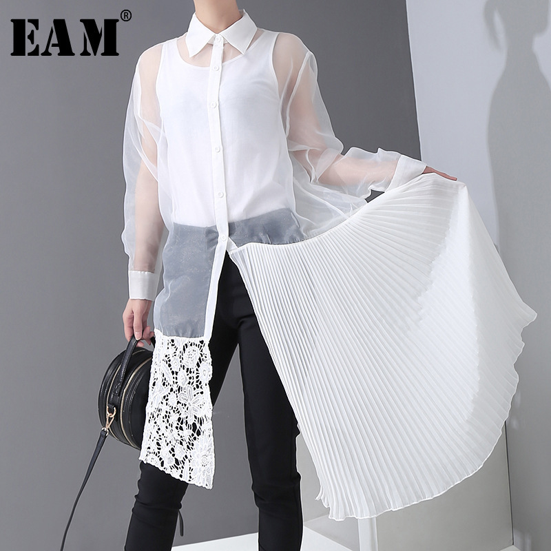 [EAM] Women White Organza Perspective Pleated Shirt Dress New Lapel Long Sleeve Loose Fit Fashion Tide Spring Autumn 2020 1R308