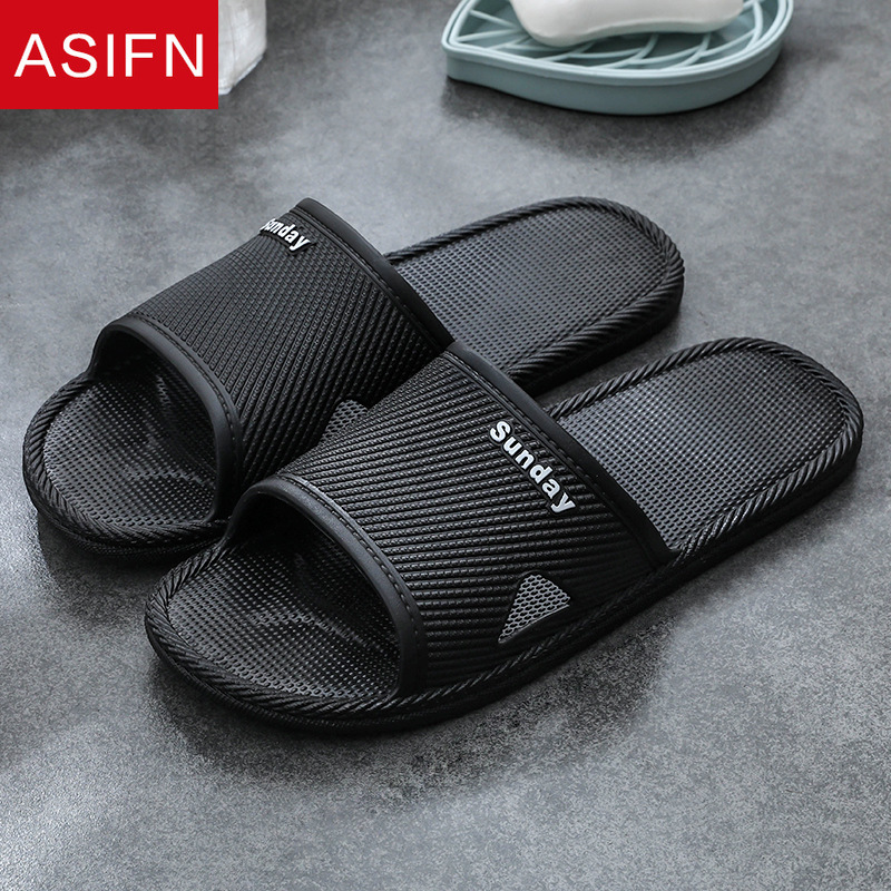 ASIFN Men Casual Slippers Summer Bathroom Slides Couple Indoor Non-slip Home Zapatos De Hombre Male Sandals House Flip Flops