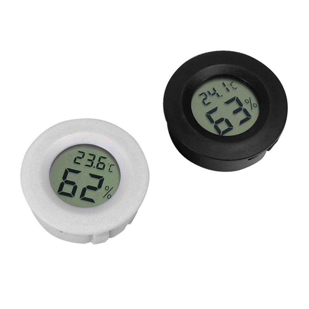 Mini Digital Thermometer Hygrometer Round Shape LCD Display Reptile Aquarium Temperature Humidity Meter Detector