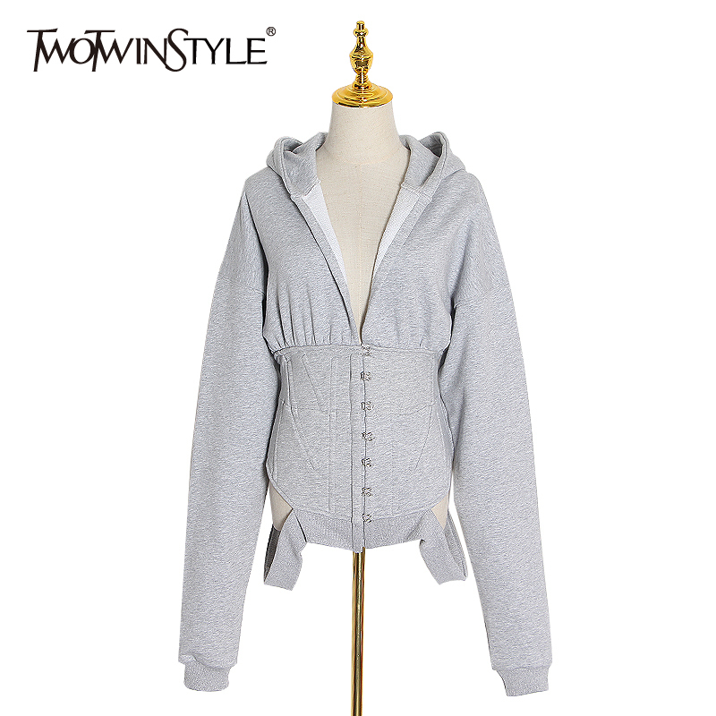 TWOTWINSTYLE Hollow Out Casual Sweatshirt For Women Hooded V Neck Long Sleeves Sweatshirts Female 2020 Spring Fashion New