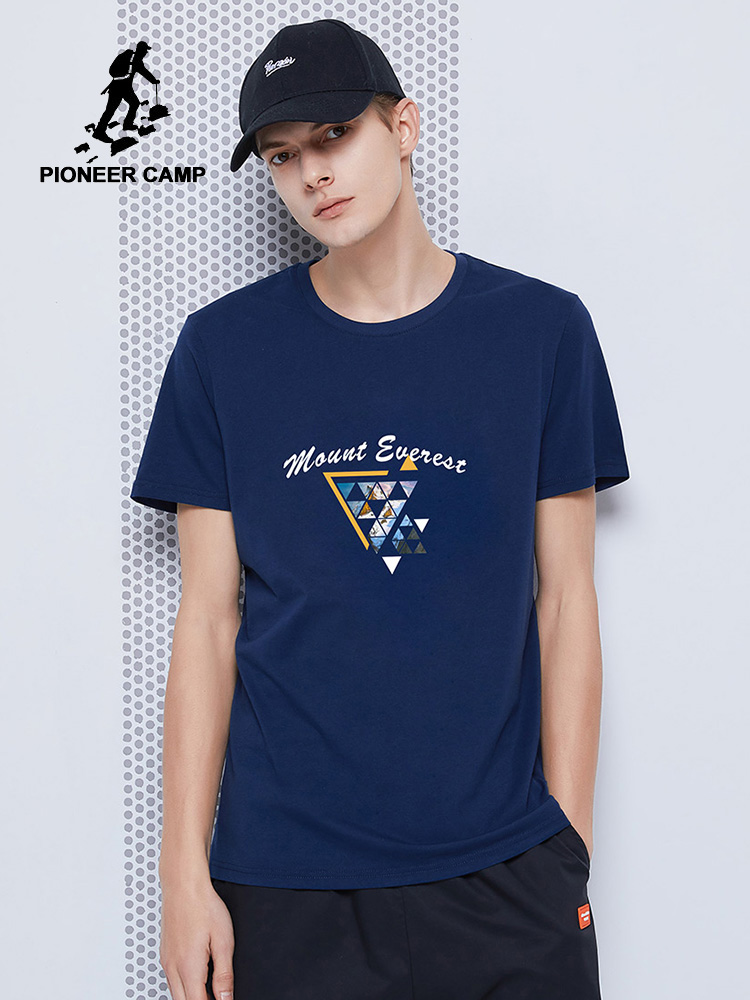 Pioneer Camp 2020 Summer New T-shirts Men Fashion Printed 100% Cotton Casual Blue Black Men's Top Tees ADT0206024H