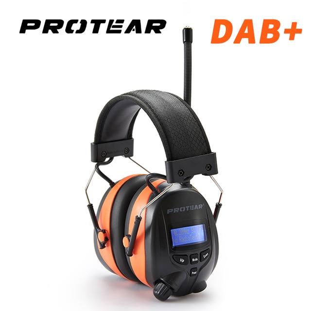 Protear DAB+/DAB Radio Hearing Protector 25dB 1200mAh Lithium Battery Earmuffs Electronic Bluetooth Headphone Ear Protection