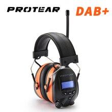 Protear Protector auditivo de Radio DAB +/DAB, orejeras con batería de litio de 25dB y 1200mAh, protección auditiva electrónica con Bluetooth para auriculares