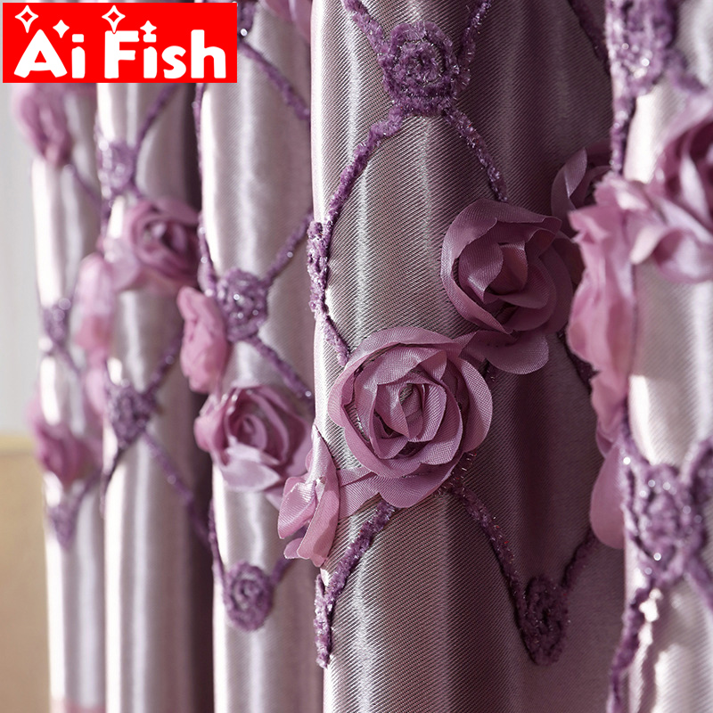 Purple Three-dimensional Flowers Embroidered Bedroom Curtain Shade Cloth Elegant Noble Curtain For Living Room Drapes MY131#5