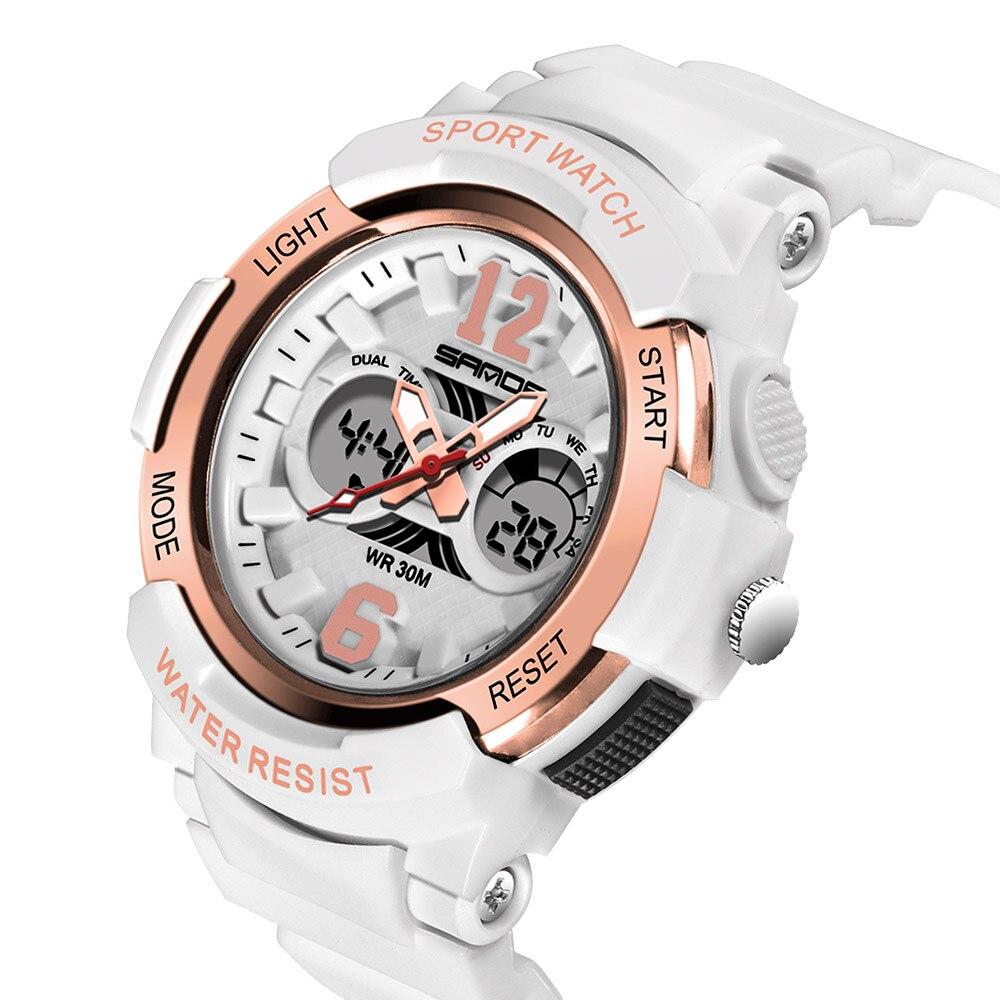 SANDA Watches Children Colorful LED Back Light Sport Kids Wristwatches Alarm Chronograph 30m Waterproof Calendar Clock Gift 757