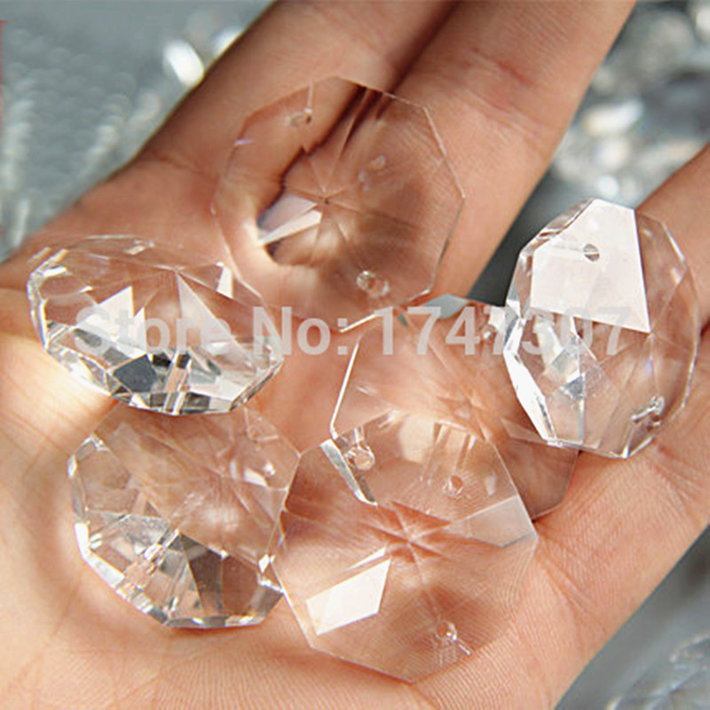 Free Metal Ring,50pcs/lot 14mm Chandelier Crystal Bead Door/ Window Crystal Octagon Beads In 2 Holes Home Decoration Accessories